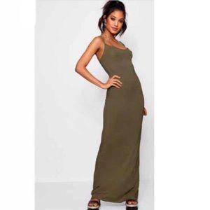 Boohoo cami maxi dress, khaki green size 6